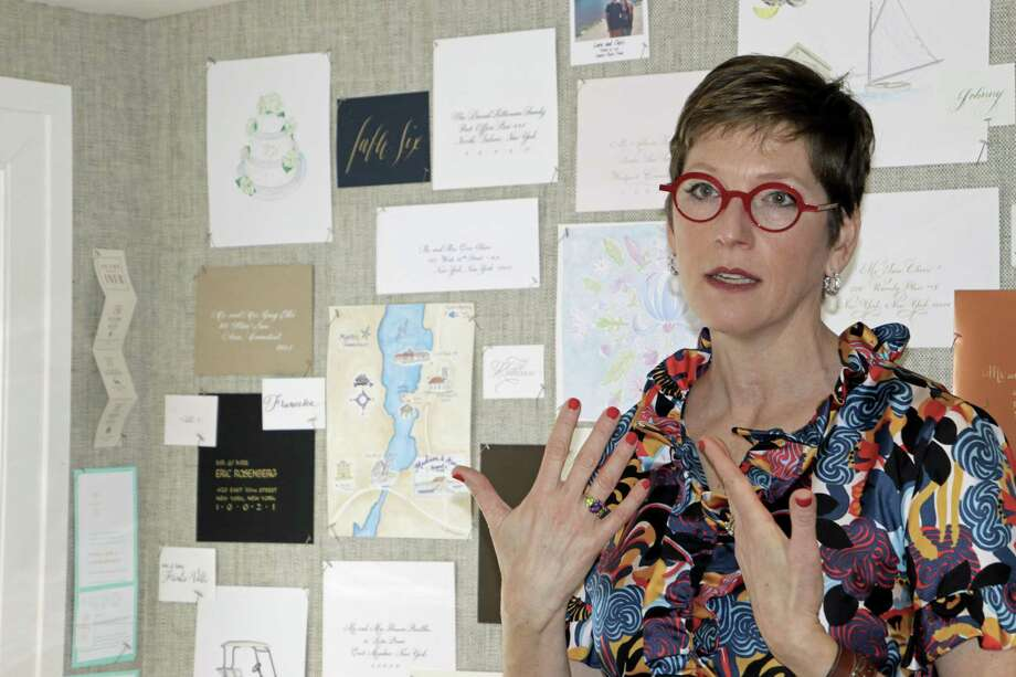 "Shari Lebowitz, a self-described ""paperpreneur,"" speaks at a recent event at her stationery and gift shop, Bespoke Designs, in Westport. Photo: Jessica Ryan / Contributed Photo / Jessica Ryan"