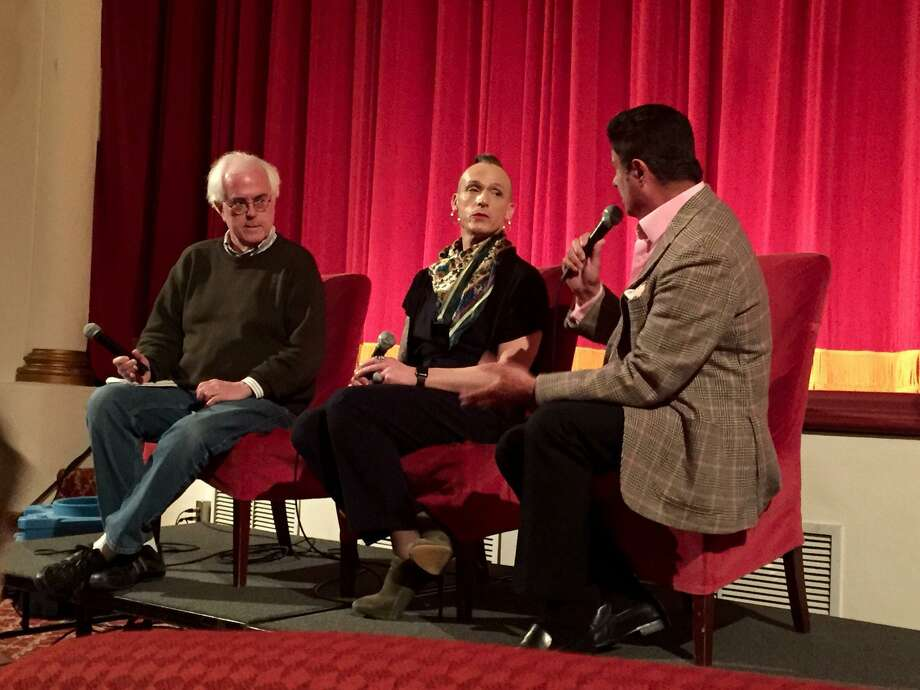 "Joe Meyers, left, conducted an interview with Dr. A.C. Demidont and Anchor Health Initiative chairman Jean Doyen de Montaillou after a screening of ""BPM"" at the Avon Theatre in Stamford. Photo: Avon Theatre / Contributed Photo"