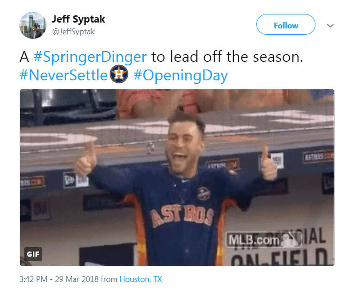 Astros fans celebrated opening day on Twitter with the hashtag #NeverSettle.Image source: Twitter