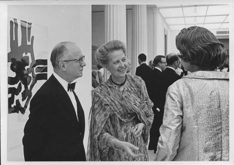 Dominique and John de Menil, November 6, 1968, at the opening of A Young Teaching Collection (November 7, 1968-January 12, 1969), the Museum of Fine Arts, Houston. Photo: Hickey-Robertson, Courtesy Of Menil Archives, The Menil Collection, Houston / Hickey-Robertson, Courtesy Of Menil Archives, The Menil Collection, Houston