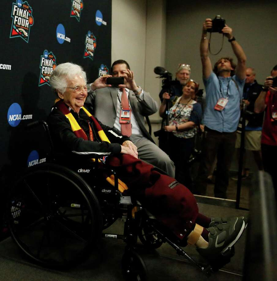 Loyola's Sister Jean Dolores Schmidt arrives at a news conference for the Final Four NCAA college basketball tournament, Friday, March 30, 2018, in San Antonio. (AP Photo/Brynn Anderson) Photo: Brynn Anderson, STF / Associated Press / Copyright 2018 The Associated Press. All rights reserved.