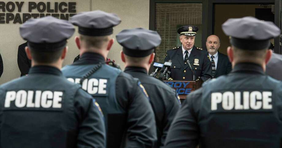 Assistant Chief of Department George VanBramer gives his retirement speech at his retirement ceremony Friday March 30, 2018 outside of police headquarters in Troy, N.Y.  (Skip Dickstein/Times Union) Photo: SKIP DICKSTEIN, Albany Times Union / 20043331A