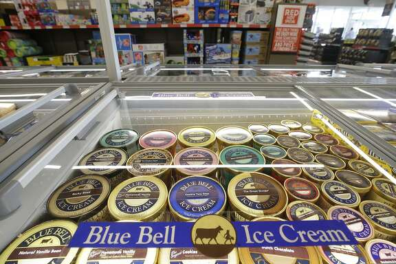 This July 5, 2017, photo shows a display of Blue Bell ice cream at Aldi in Fulshear, Texas. Blue Bell, the Brenham creamery still trying to recapture customers it lost during a 2015 listeria outbreak, is now coping with an industrywide trend of slower growth in ice cream sales. (Melissa Phillip/Houston Chronicle via AP)