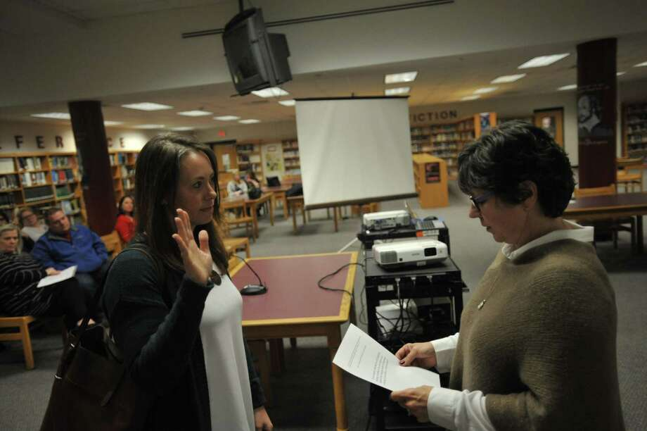 Jessica Richardson rejoined the Torrington Board of Education this week, as she was sworn-in to replace John Giansanti. Photo: Ben Lambert / Hearst Connecticut Media
