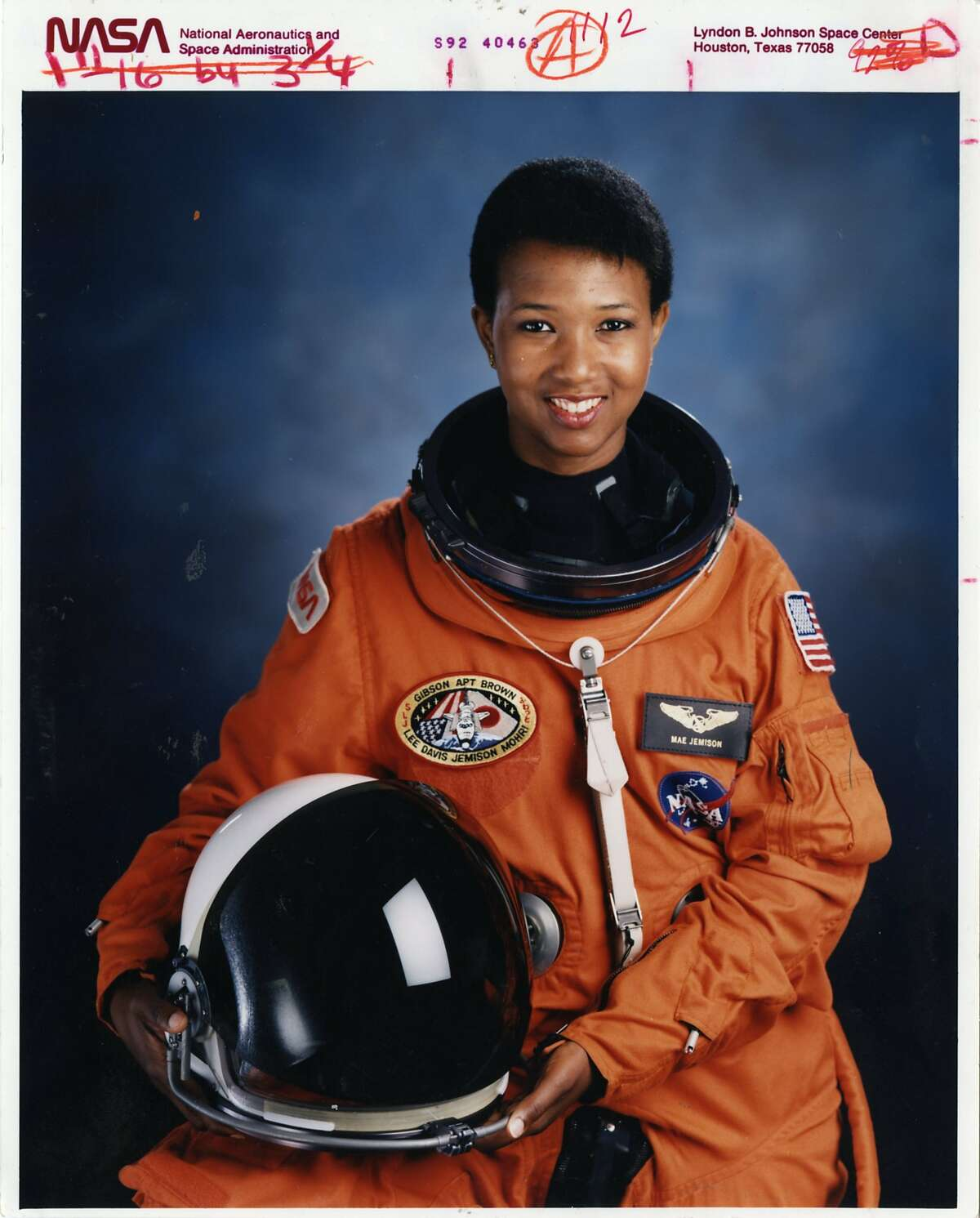 MAE C. JEMISON, M.D. -- Astronaut 1992 - Mission Specialist Mae Jemison, first black female in space. The first African-American woman in space She was named an astronaut candidate in 1987. She flew her first flight as a science mission specialist on STS-47, Spacelab-J, in September 1992 on board Space Shuttle Endeavour. NASA July 1992 S92-40463 Johnson Space Center, Houston, Texas 77058