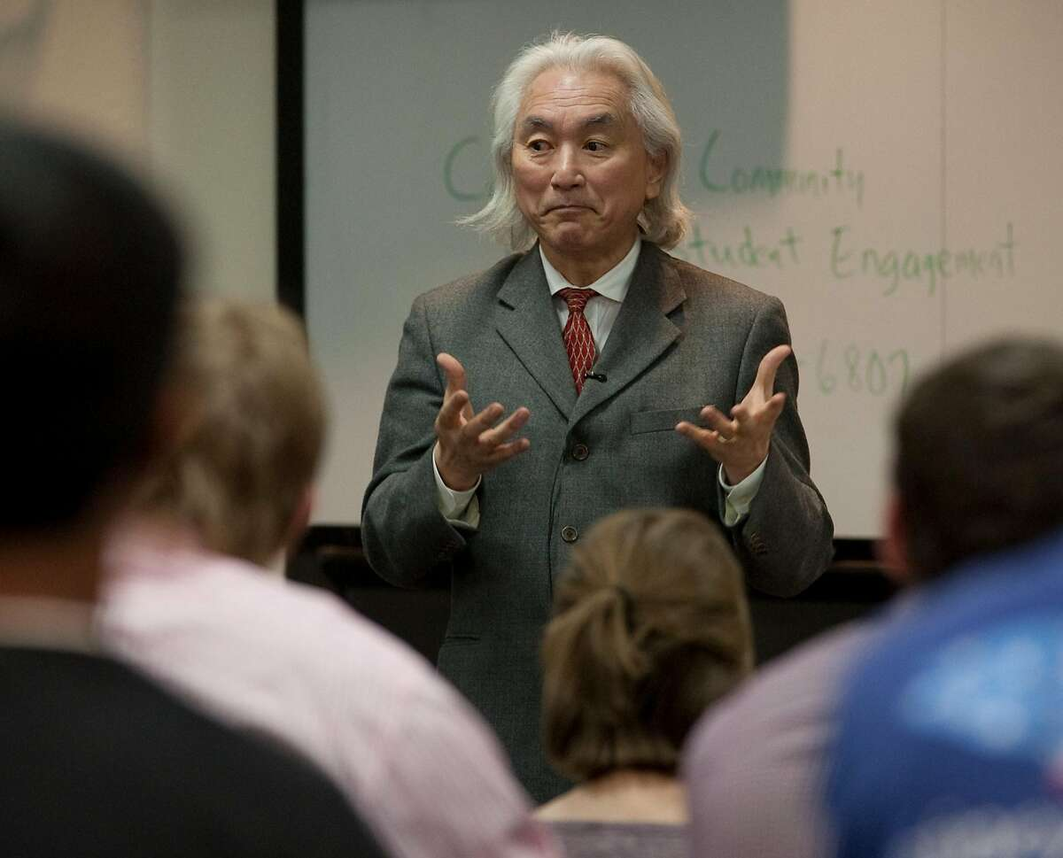 Michio Kaku, renowned physicist, speaks with area students Tuesday during a small group discussion at Midland College before lecturing Tuesday evening at the Distinguished Lecture Series at Chaparral Center. Tim Fischer\Reporter-Telegram