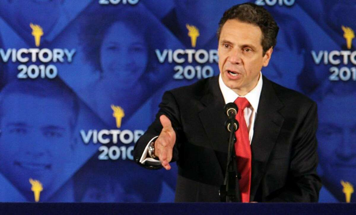 Democratic gubernatorial candidate Andrew Cuomo accepts the nomination for New York governor Thursday. (Mary Altaffer/Associated Press)
