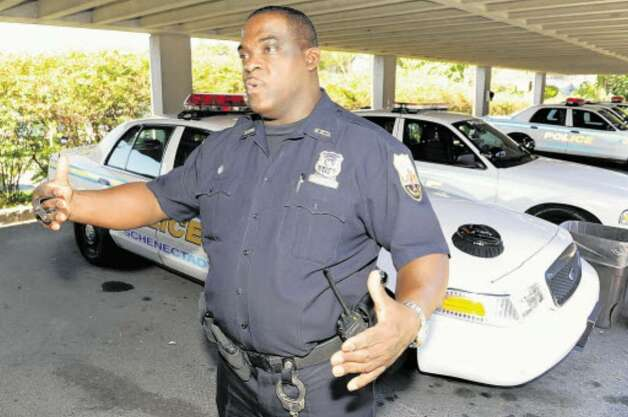 Schenectady Police Officer Dwayne Johnson on the job in October 2008. (Skip Dickstein / Times Union)