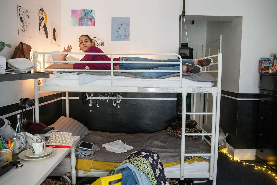 Iris shares a studio with two others in a hostel with apartments and a communal kitchen used by international students and professionals in San Francisco. Photo: Photos By Jessica Christian / The Chronicle