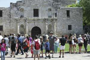 The Alamo attracts added visitors during the Final Four Fan Fest at the Convention Center on March 30, 2018.