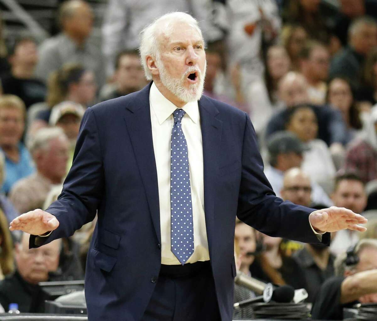 San Antonio Spurs head coach Gregg Popovich calls a play during a recent game against the Utah Jazz at the AT&T Center. Readers go after the coach for his latest political comments.