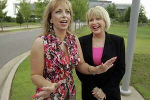 Gennifer Flowers, right, laughs as she and Paula Jones are interviewed in front of the Clinton Presidential Library in Little Rock, Ark., in 2008. Both were at the center of a Clinton scandal in the 90s. The women claiming affairs with Donald Trump might have come right out of casting for that scandal.