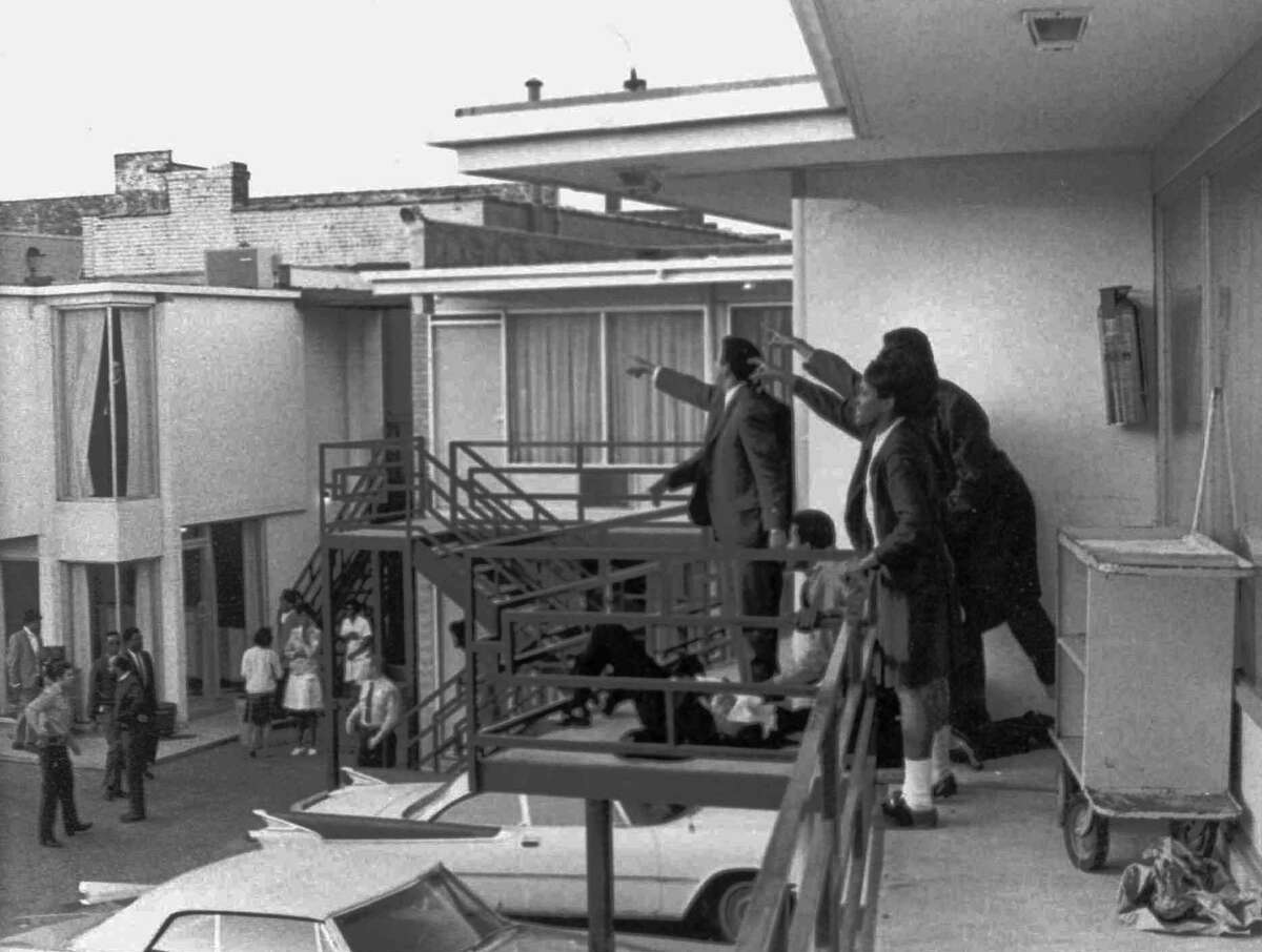 A 1968 photo taken minutes after an assassin's bullet struck Dr. Martin Luther King Jr. at the Lorraine Motel in Memphis, Tenn., on April 4, 1968.