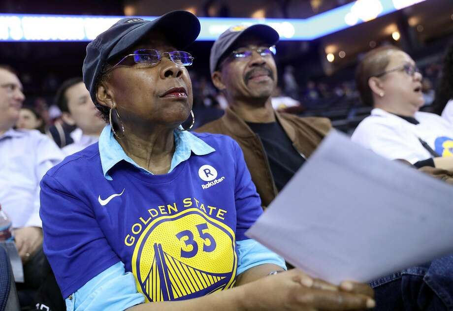 Golden State Warriors' fans Betty and Edward McGee attend a Warriors' game against the Indiana Pacers at Oracle Arena. Photo: Scott Strazzante / The Chronicle