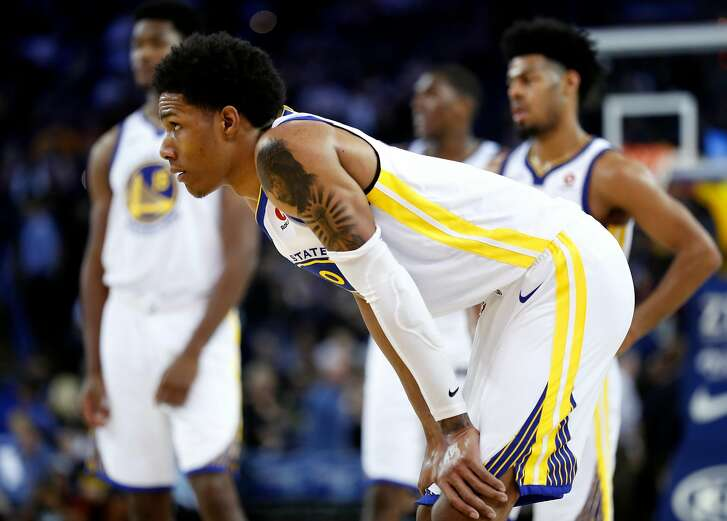 Golden State Warriors' Patrick McCaw in 4th quarter of Indiana Pacers' 92-81 win in NBA game at Oracle Arena in Oakland, Calif., on Tuesday, March 27, 2018.