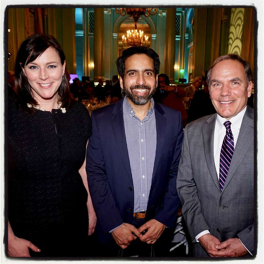 Chronicle Editor in Chief Audrey Cooper and Editorial Page Editor John Diaz flank VOTY honoree Sal Khan. Photo: Catherine Bigelow / Special To The Chronicle