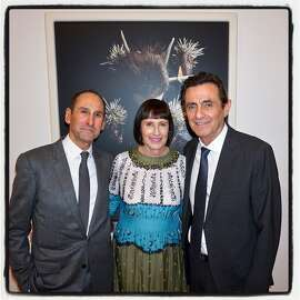 """Rich Silverstein and his wife, Carla Emil (left) with SFMOMA Director Neal Benezra at the opening of """"Selves and Others."""" March 22, 2018."""