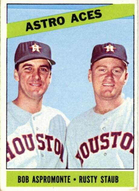 Astros teammates Bob Aspromonte and Rusty Staub in a baseball card from Topps' 1966 set. Photo: Topps