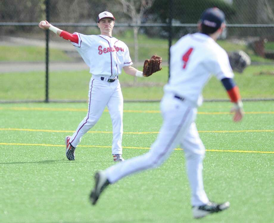Brien McMahon left fielder Chris Ehlers throws the ball in after a base hit in the high school baseball game between Greenwich and Brien McMahon at Nathan Hale Middle School in Norwalk, Conn. Thursday, April 13, 2017. Photo: Tyler Sizemore / Hearst Connecticut Media / Greenwich Time
