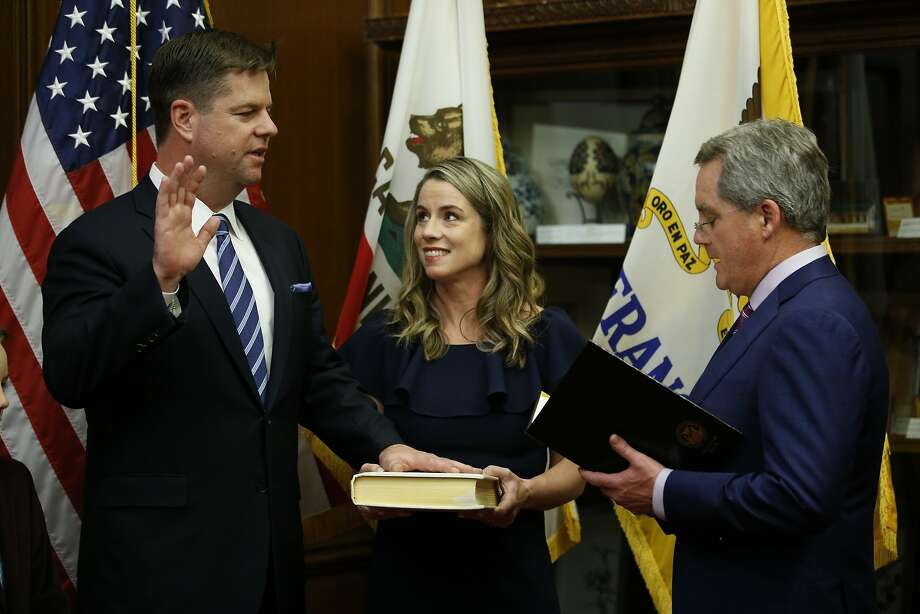 Mark Farrell is sworn in as mayor by City Attorney Dennis Herrera in January. Farrell says he'll never run for office again. Photo: Santiago Mejia / The Chronicle
