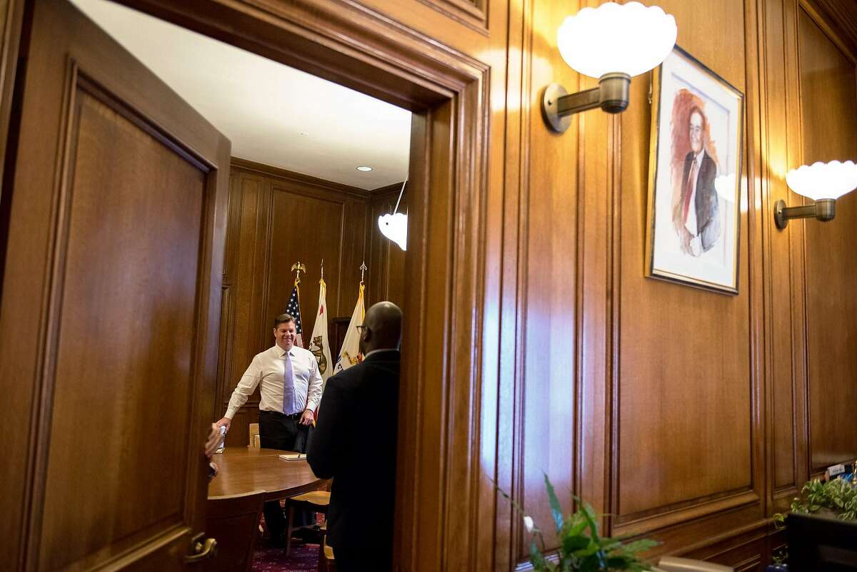 San Francisco Mayor Mark Farrell takes a short break between meetings. The mayor�s office hours will be held on the first and third Friday of every month.