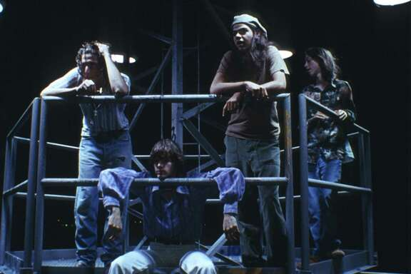 Dazed and Confused (1993) was filmed in Austin, Tx and directed by Richard Linklater. Story about teenagers in Austin, Texas, celebrating the last day of high school in 1976. Young actors shown from left: unknown, Jason London, Rory Cochrane, Wiley Wiggins starred in this teen movie.
