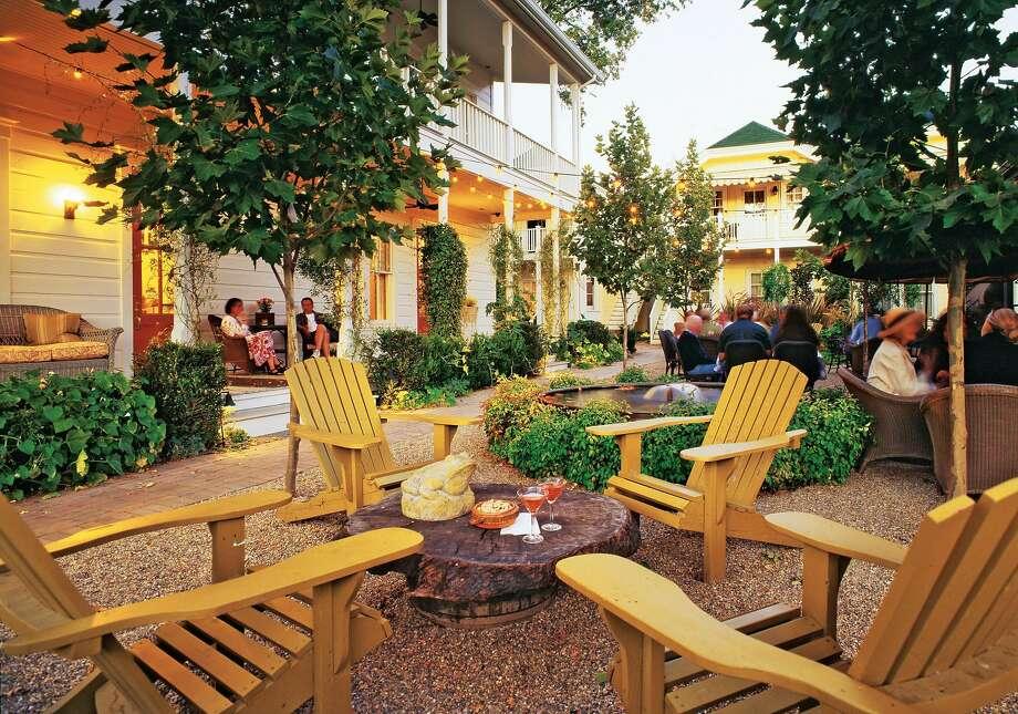 The courtyard at the Tallman Hotel that faces the Garden Rooms. Photo: The Tallman Hotel