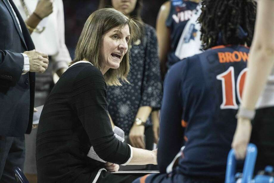 Virginia head coach Joanne Boyle communicates with players during a timeout during a second-round game of the NCAA women's college basketball tournament, Sunday, March 18, 2018, in Columbia, S.C. South Carolina defeated Virginia 66-56. (AP Photo/Sean Rayford) Photo: Sean Rayford / Associated Press / The Associated Press