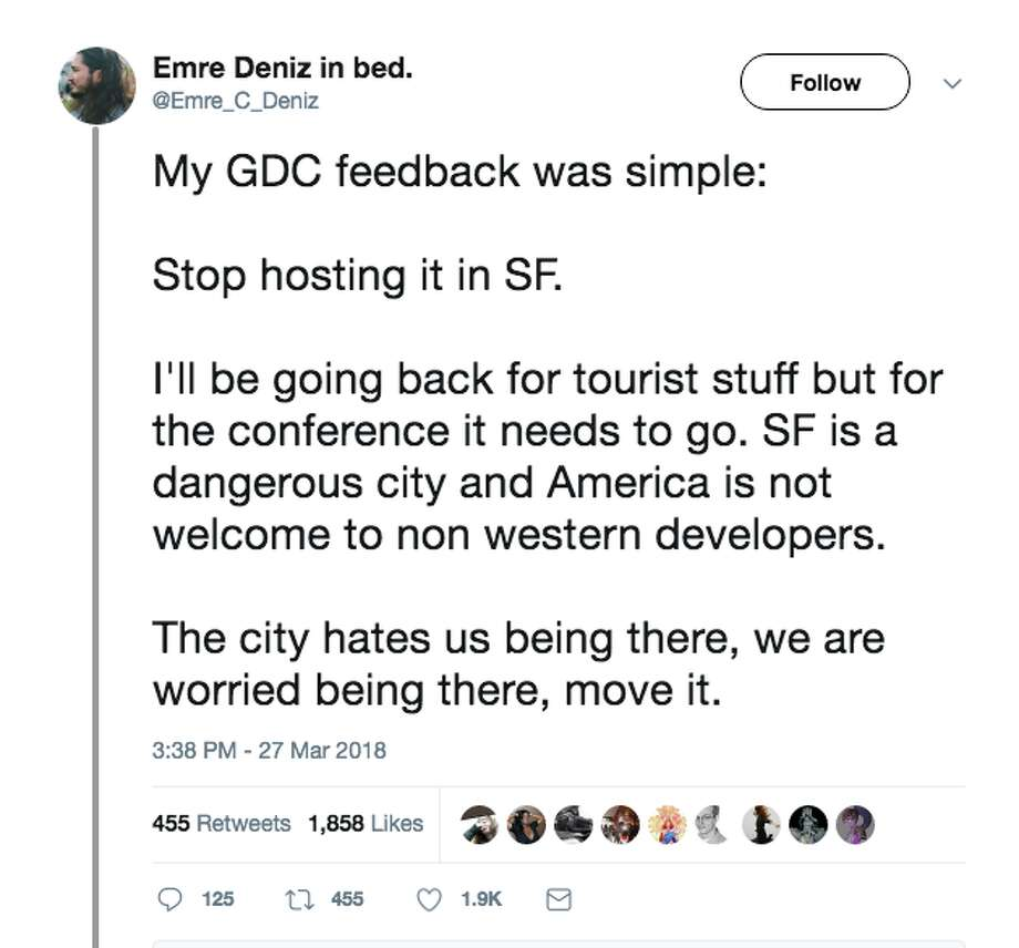 Attendees at the Game Developers Conference, held the week of March 18 at San Francisco's Moscone Convention Center, detailed some of their less-than-savory experiences in the city during their week stay. Photo: Twitter Screen Grab