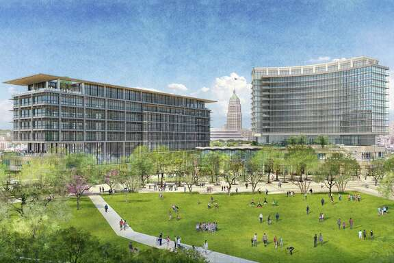 A rendering of a proposed mixed-use development showing the great lawn at Hemisfair. Local developer Zachry Corp.'s $200 million mixed-use project at Hemisfair is designed to feel new while evoking San Antonio's 300-year architectural history.
