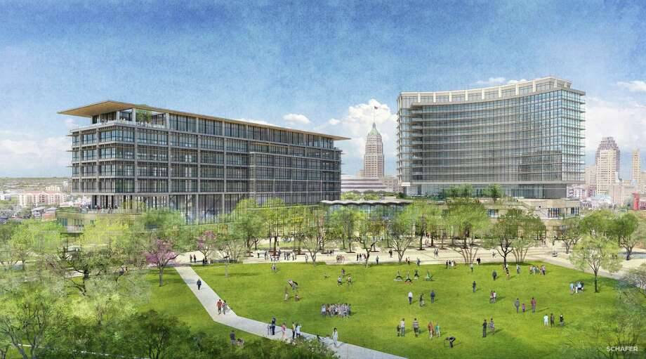 Local developer Zachry Corp. is planning a $200 million mixed-use project at Hemisfair that will include an eight-story office tower. Photo: /Rendering Courtesy Of Zachry Corp.