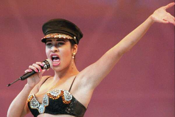 Singer Selena Quintanilla performs at the Houston Livestock Show and Rodeo in the Astrodome in Houston Feb. 28, 1993.