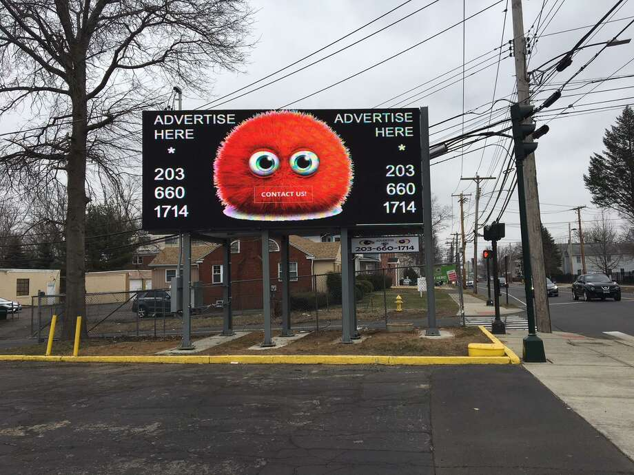An example of a digital ad running on the electronic billboard at Whalley Avenue and Emerson Street. The owner said he has had 100 calls from companies looking to advertise there. Photo: Mary E. O'Leary / Hearst Connecticut Media