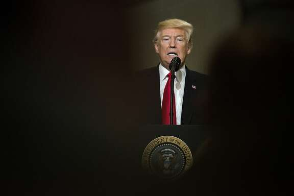 U.S. President Donald Trump speaks during an event at the Local 18 Richfield Facility of the Operating Engineers Apprentice and Training center in Richfield, Ohio, U.S., on Thursday, March 29, 2018. Both Congress and Trump's own infrastructure advisers have shied away from the kind of sweeping infrastructure plans Trump discussed at a February White House meeting with local and state officials. Photographer: Ty Wright/Bloomberg