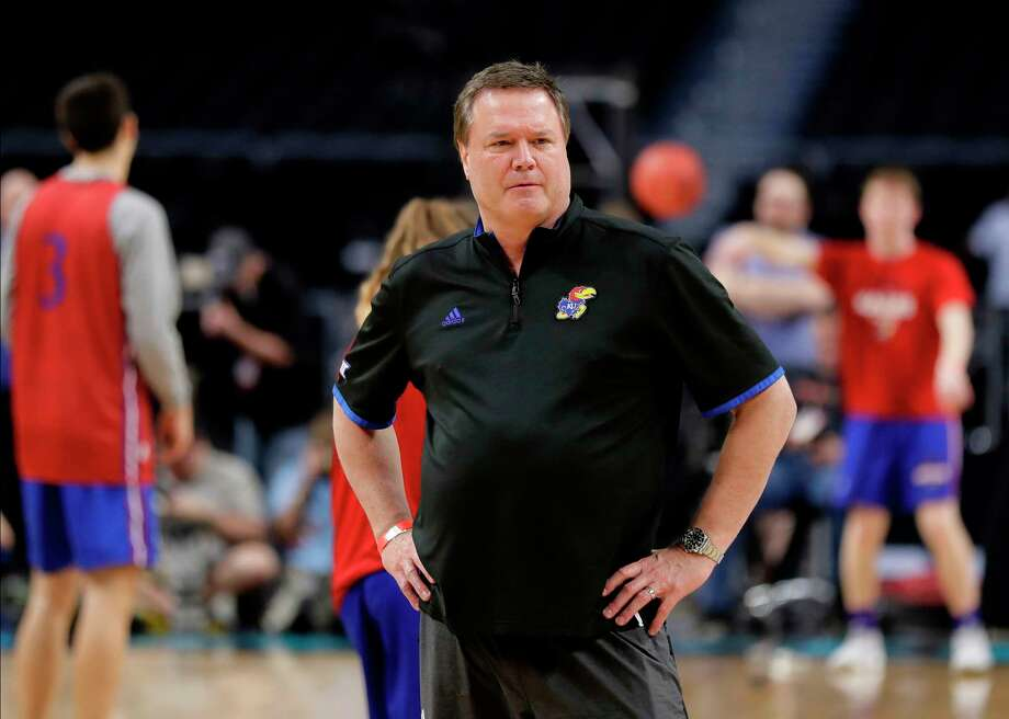 Kansas head coach Bill Self watches his team during a practice session for the Final Four NCAA college basketball tournament, Friday, March 30, 2018, in San Antonio. (AP Photo/Eric Gay) Photo: Eric Gay / Copyright 2018 The Associated Press. All rights reserved.
