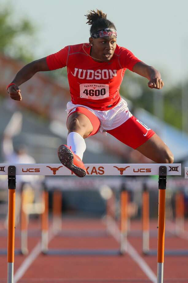 Judson's Tre'Bien Gilbert clears the final hurdle in the high school boys 300-meter hurdles during the Clyde Littlefield Texas Relays at Mike A. Myers Stadium in Austin on Friday, March 30, 2018.  Gilbert won the event with a time of 36.87 seconds.  MARVIN PFEIFFER/mpfeiffer@express-news.net Photo: Marvin Pfeiffer, Staff / San Antonio Express-News / Express-News 2018