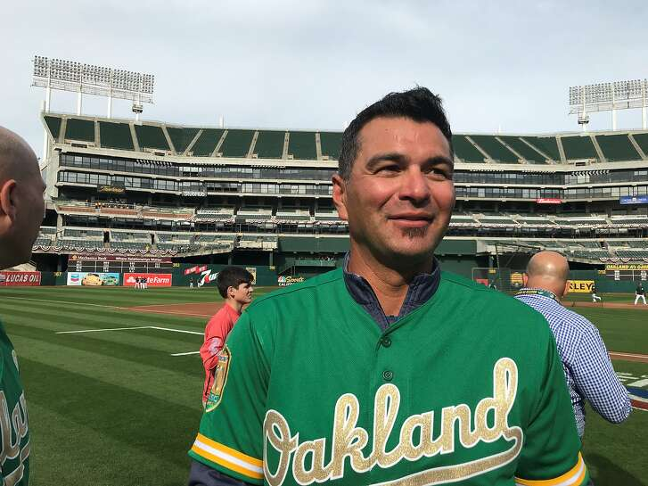 Former A's third baseman Eric Chavez attended Friday's event at the Coliseum.