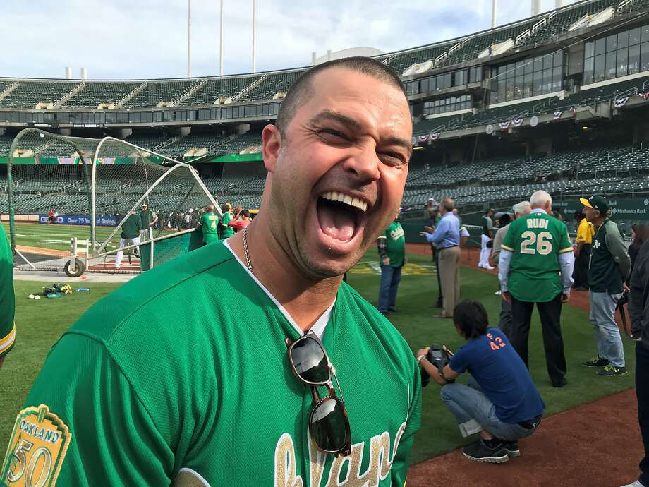 Former outfielder Nick Swisher returned for the top 50 Oakland A's ceremony. Photo: Susan Slusser/The Chronicle