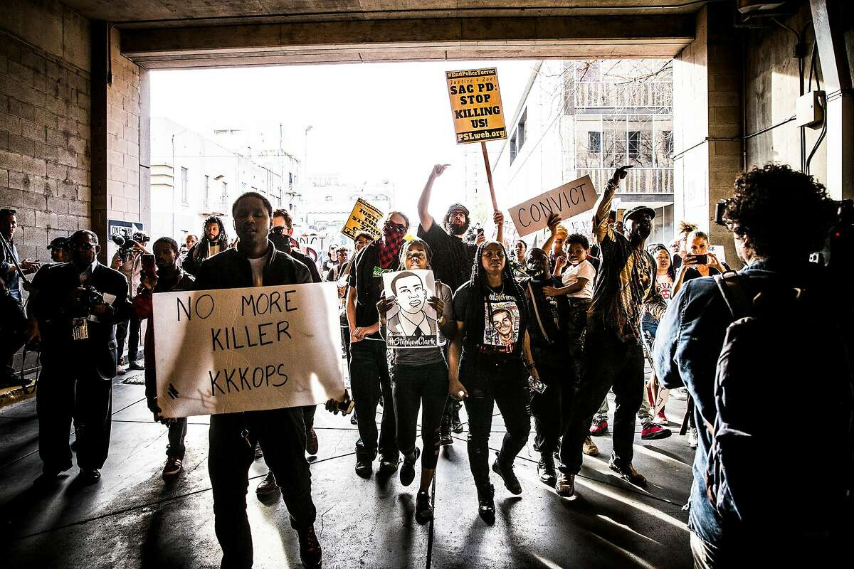 Protesters during a march in downtown Sacramento, Calif., on Thursday, March 29, 2018. In the days since Stephon Clark, 22, was fatally shot by officers investigating a vandalism complaint in his south Sacramento neighborhood, protesters have stormed City Hall and taken to the streets in anger. (Max Whittaker/The New York Times)