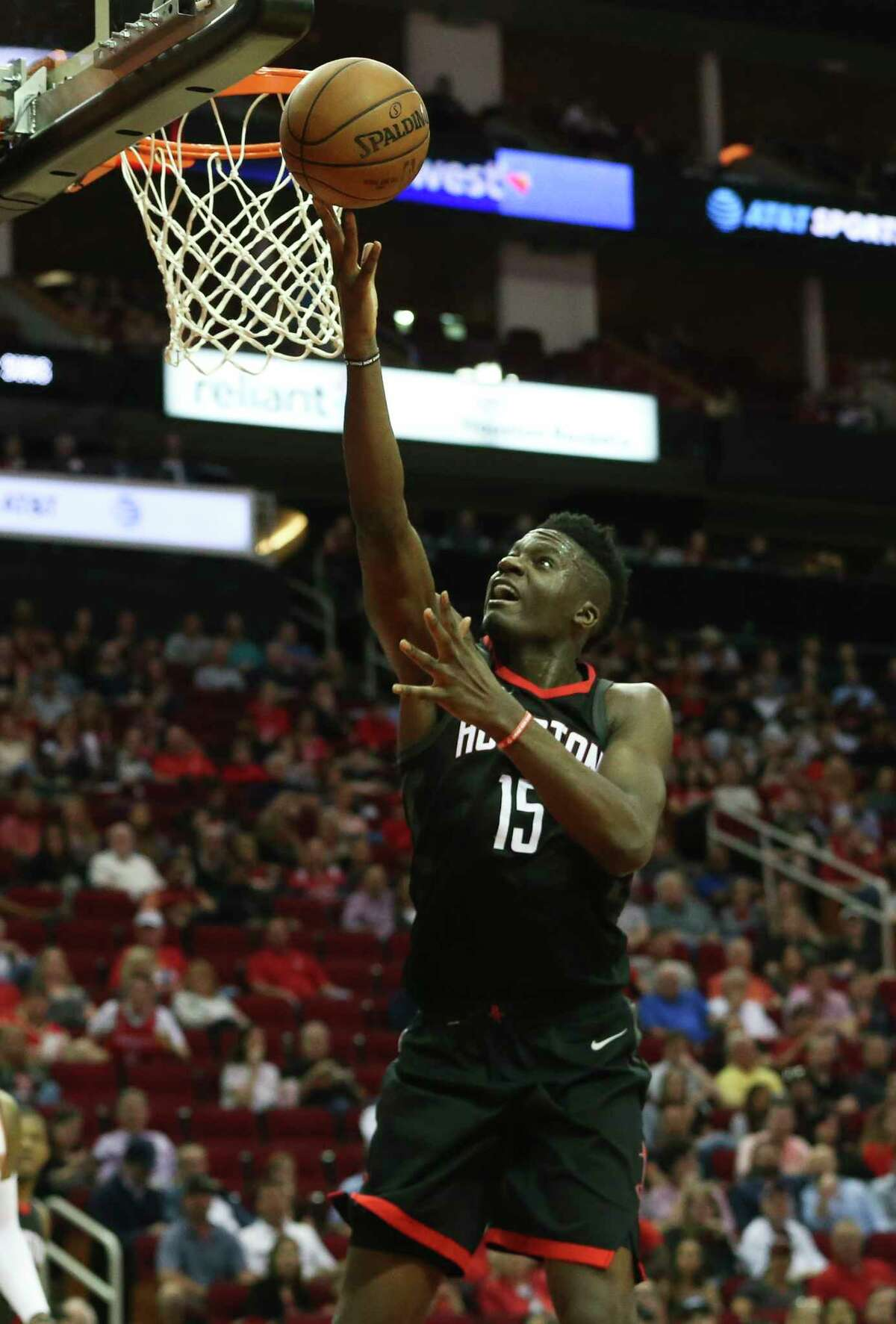 Houston Rockets center Clint Capela (15) attempts the basket during the third quarter of the NBA game against the Phoenix Suns at Toyota Center on Friday, March 30, 2018, in Houston. The Houston Rockets defeated the Phoenix Suns 104-103 the last second of the game.