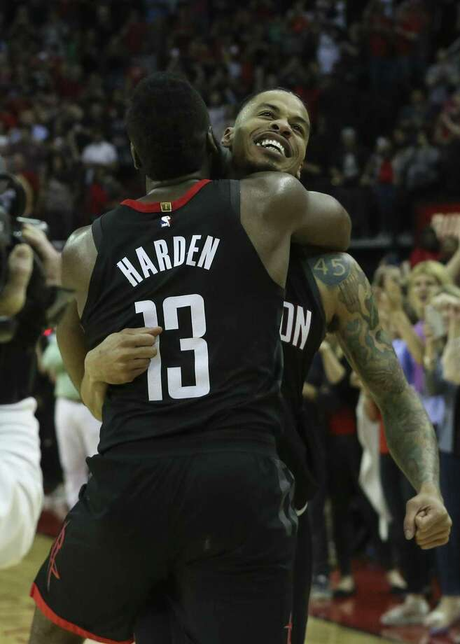 Rockets guard James Harden (13) congratulates Gerald Green (14) after his buzzer-beater in the fourth quarter eclipsed the Suns. Photo: Yi-Chin Lee / Houston Chronicle / © 2018 Houston Chronicle