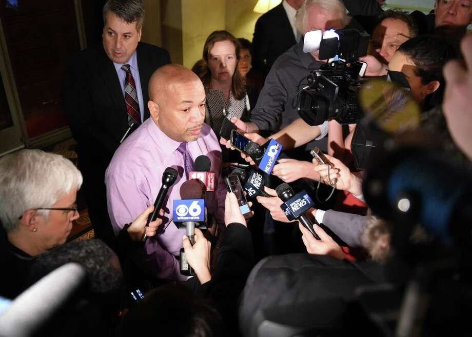 "Speaker Carl Heastie holds a budget press briefing on Friday, March 30, 2018, at the Capitol in Albany, N.Y. The budget included many items meant to address Gov. Andrew Cuomo's ""Women's Agenda"" including mandated free feminine hygiene products in public schools and baby changing tables in all renovated buildings.  (Will Waldron/Times Union) Photo: Will Waldron"