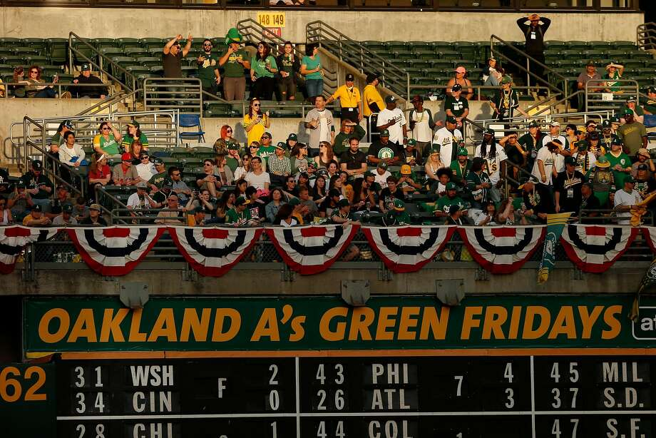Fans take their seats before an MLB game between the Oakland Athletics and Los Angeles Angels at the Oakland Coliseum, Friday, March 30, 2018, in Oakland, Calif. Photo: Santiago Mejia / The Chronicle