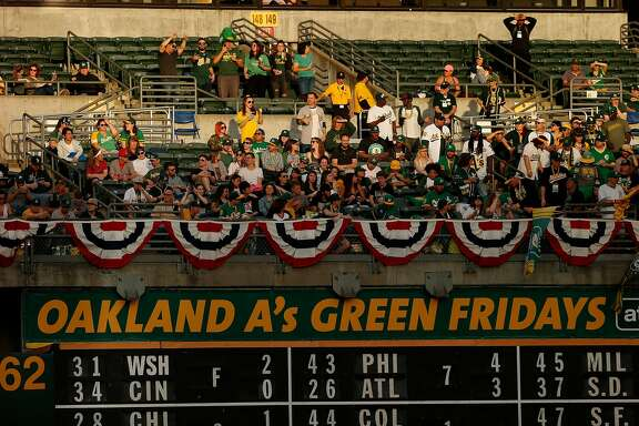 Fans take their seats before an MLB game between the Oakland Athletics and Los Angeles Angels at the Oakland Coliseum, Friday, March 30, 2018, in Oakland, Calif.