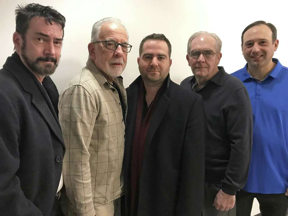 From left, actor and filmmaker Phil Hahn; private investigator Vito Colucci; teacher and actor Bobby Pavia; retired Stamford police detective Butch Lupinacci; and attorney, producer and actor Rob Sciglimpaglia are creating an episode of a proposed television series, Justice Delayed, that will focus on one of Stamford's most notorious cold cases, the 1973 murder of restaurateur Joseph Pellicci. Photo: Angela Carella / Hearst Connecticut Media / Stamford Advocate