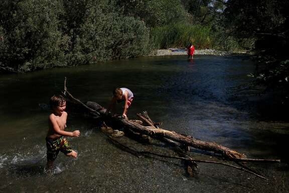 From left, Logan Weemes, 5, and Jasper Stockwell, 5, play with other family members in Cache Creek as it winds through the Cache Creek Wilderness near the Redbud Trailhead August 18, 2017 in Lake County, Calif.