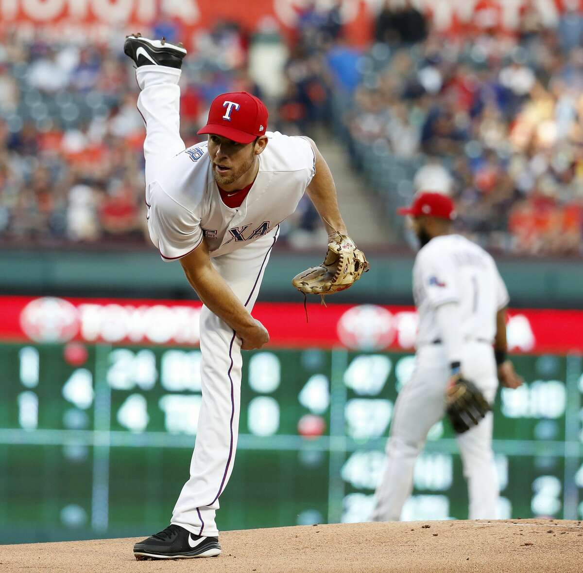 March 30: Rangers 5, Astros 1 Record: 1-1 Houston Chronicle's Player of the Game Doug Fister W/ 5 IP/ 4 hits/ 1 ER/ 3 Ks Earned the win against his former team and delivered the Astros their first loss of the season.
