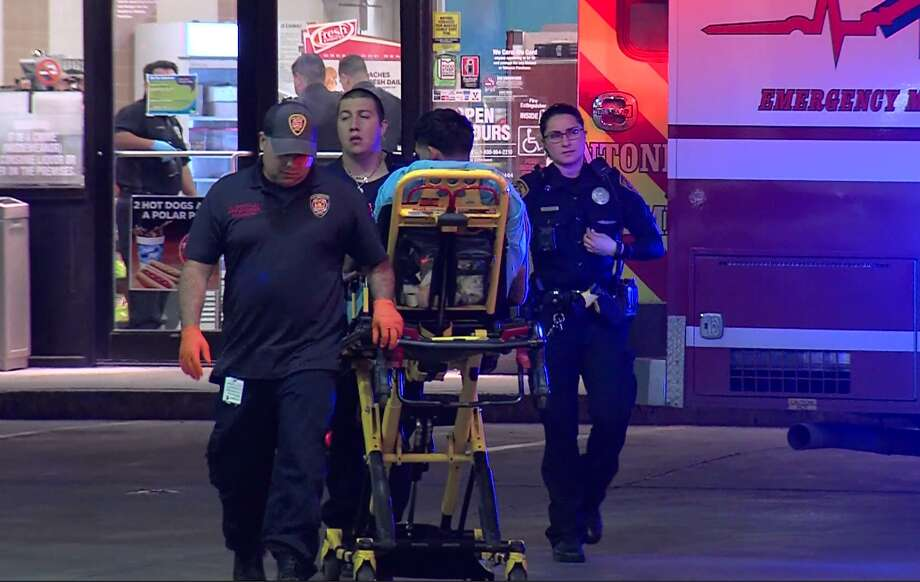 San Antonio police say two men drove to a convenience store early Saturday, March 31, 2018, after suffering gunshot wounds. The men were taken to an area hospital in stable condition and police continue to investigate. Photo: 21 Pro Video