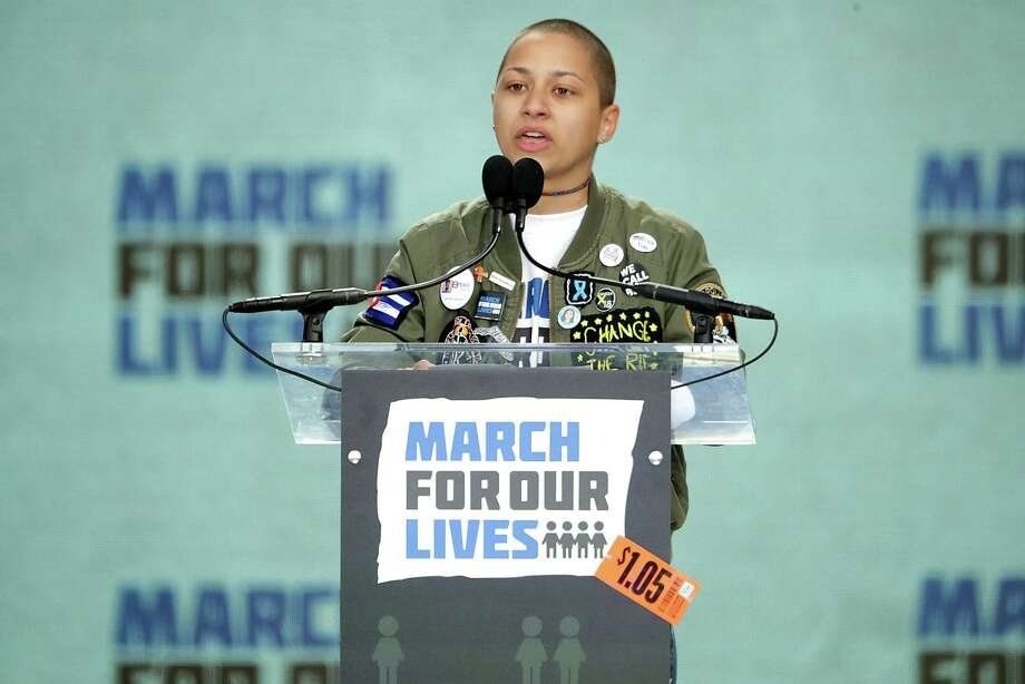 WASHINGTON, DC - MARCH 24:  Tears roll down the face of Marjory Stoneman Douglas High School student Emma Gonzalez addresses the March for Our Lives rally on March 24, 2018 in Washington, DC. Hundreds of thousands of demonstrators, including students, teachers and parents gathered in Washington for the anti-gun violence rally organized by survivors of the Marjory Stoneman Douglas High School shooting on February 14 that left 17 dead. More than 800 related events are taking place around the world to call for legislative action to address school safety and gun violence.  (Photo by Chip Somodevilla/Getty Images) Photo: Chip Somodevilla / 2018 Getty Images