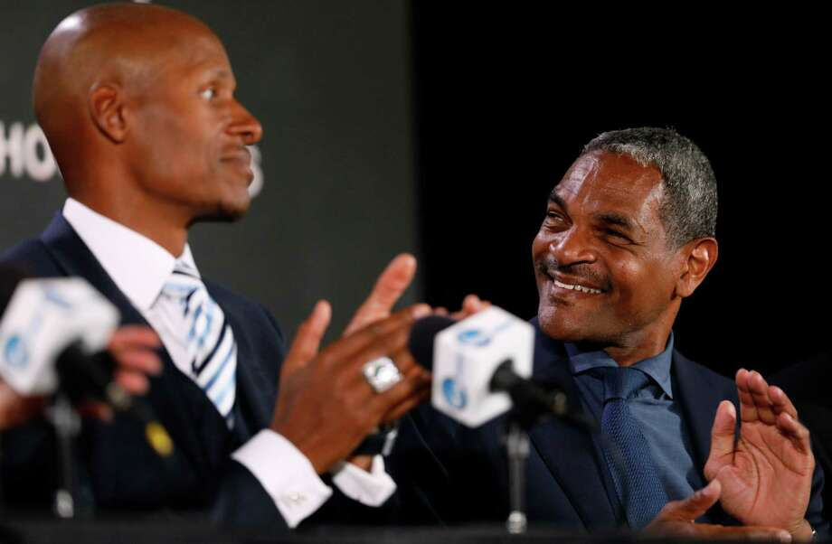 Former NBA player Maurice Cheeks, right, reacts as former NBA player Ray Allen, left, looks on during a news conference for the Naismith Memorial Basketball Hall of Fame class of 2018 announcement, Saturday, March 31, 2018, in San Antonio. (AP Photo/Charlie Neibergall) Photo: Charlie Neibergall / Associated Press / Copyright 2018 The Associated Press. All rights reserved.
